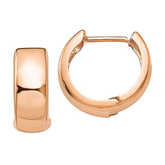 14K Rose Gold 15mm Round Hoop Earrings