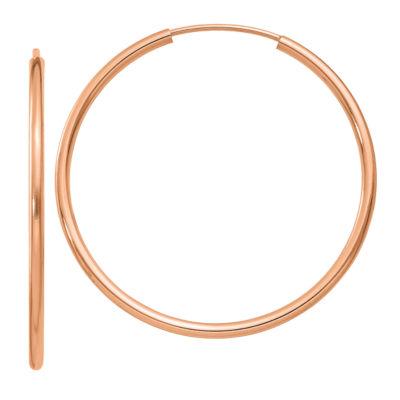 14K Rose Gold 33mm Round Hoop Earrings