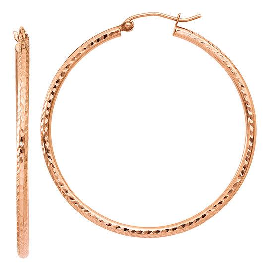 14K Rose Gold 40mm Round Hoop Earrings