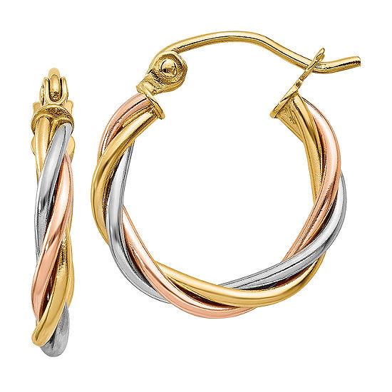 14K Tri-Color Gold 8mm Round Hoop Earrings
