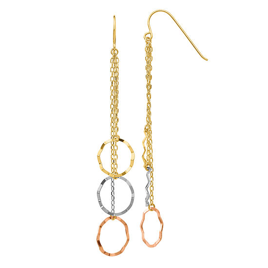 14K Tri-Color Gold Round Drop Earrings