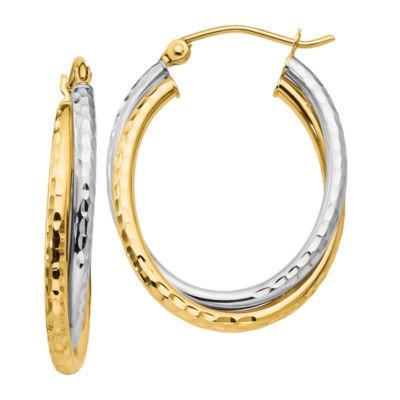 14K Two Tone Gold 17mm Oval Hoop Earrings
