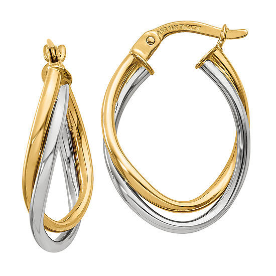 14K Two Tone Gold 20mm Oval Hoop Earrings