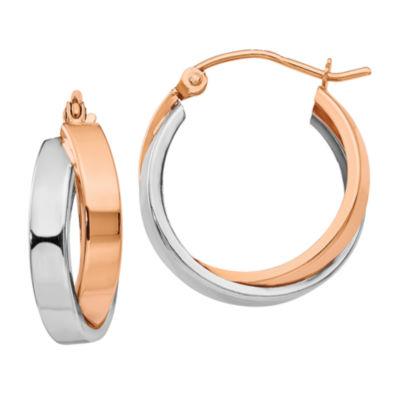 14K Two Tone Gold 18mm Oval Hoop Earrings