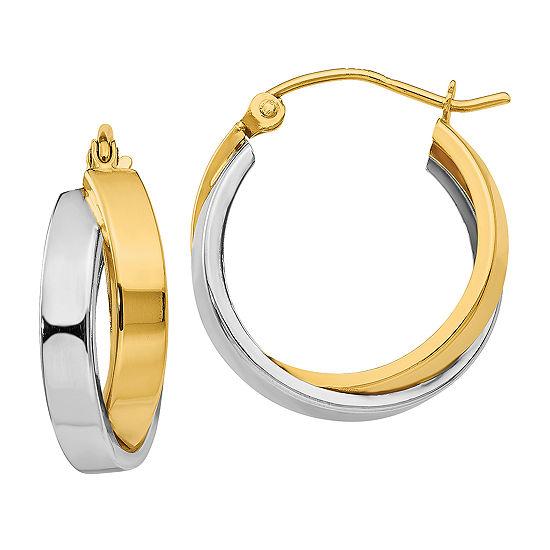 14K Two Tone Gold 14mm Round Hoop Earrings
