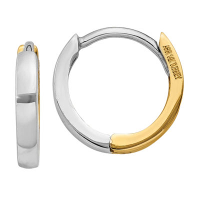 14K Two Tone Gold 7mm Round Hoop Earrings