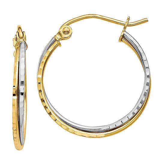 14K Two Tone Gold 20mm Round Hoop Earrings