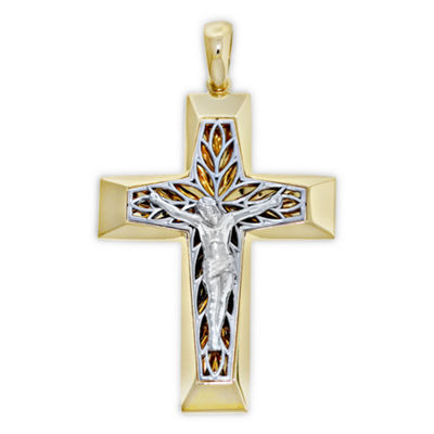 Religious Jewelry Mens 14K Gold Cross Pendant