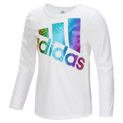adidas Long Sleeve Crew Neck T-Shirt-Big Kid Girls