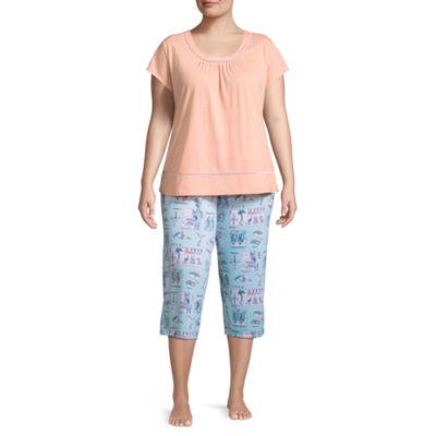 Adonna Knit Printed Capri Pajama Set-Plus