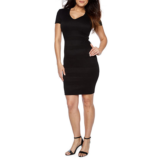 Premier Amour Short Sleeve Midi Sheath Dress