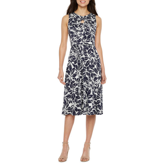 Danny & Nicole Sleeveless Floral Fit & Flare Dress