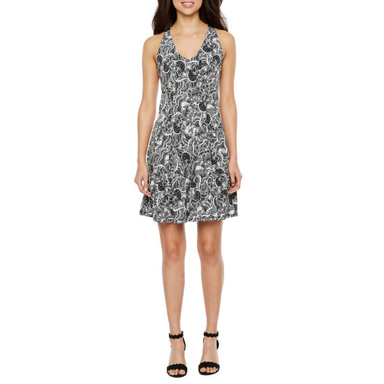 Danny & Nicole Sleeveless Floral A-Line Dress