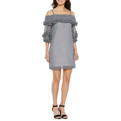 Danny & Nicole 3/4 Off the Shoulder Sleeve Gingham Shift Dress