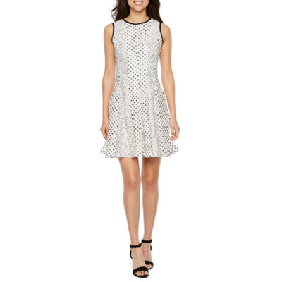 Danny & Nicole Sleeveless Lace Dots Fit & Flare Dress