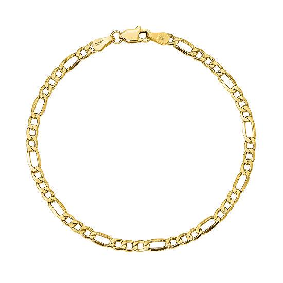 10K Gold 8 Inch Semisolid Figaro Chain Bracelet