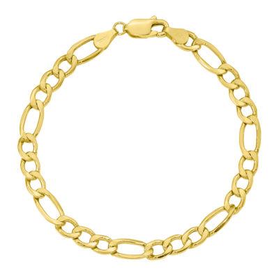 10K Gold 7 Inch Semisolid Figaro Chain Bracelet