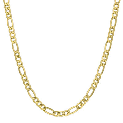10K Gold 24 Inch Semisolid Figaro Chain Necklace
