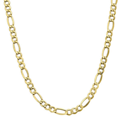 10K Gold Semisolid Figaro 24 Inch Chain Necklace