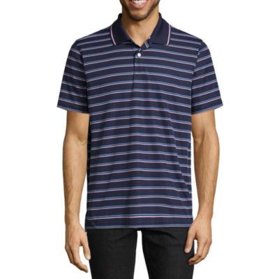 St. John's Bay Quick Dry Short Sleeve Stripe Polo Shirt