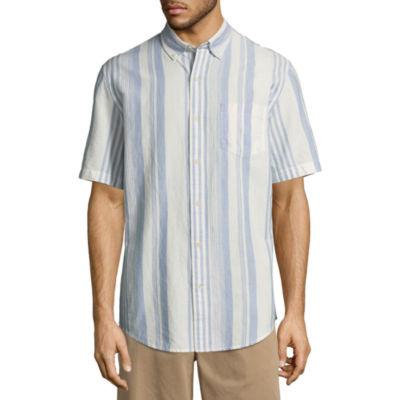 St. John's Bay Short Sleeve Stripe Button-Front Shirt
