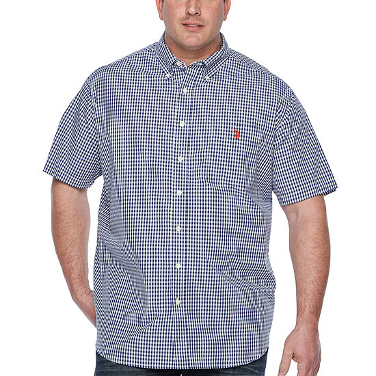 U.S. Polo Assn. Mens Short Sleeve Button-Front Shirt Big and Tall