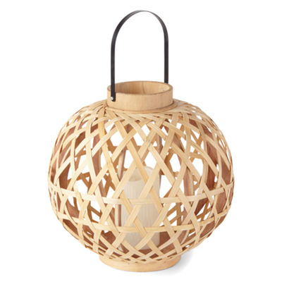 Outdoor Oasis Large Led Bamboo Outdoor Lantern