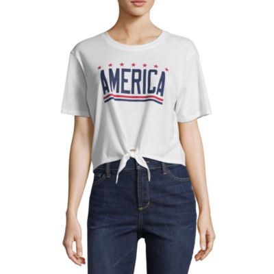 "City Streets ""America"" Tie Front Tee - Juniors"