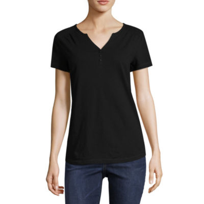 St. John's Bay Active Short Sleeve Henley Shirt-Petite