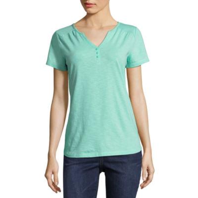 St. John's Bay Active Short Sleeve Henley Shirt-Petites
