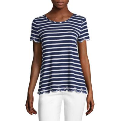 Liz Claiborne Short Sleeve Crew Neck Embroidered T-Shirt-Womens
