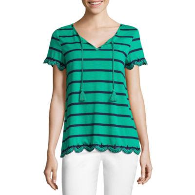 Liz Claiborne Short Sleeve Scalloped Hem Embroidered T-Shirt-Womens