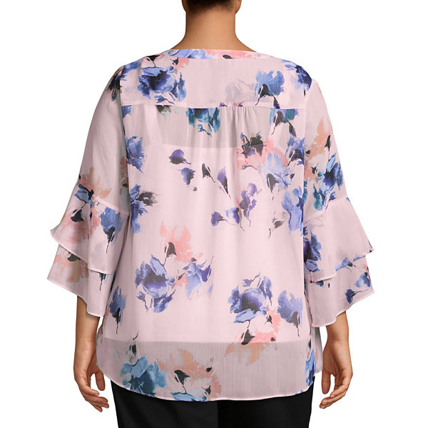 Alyx 3/4 Sleeve V Neck Woven Blouse - Plus