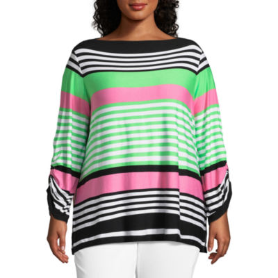 Lark Lane Island Hopping Stripe Top- Plus
