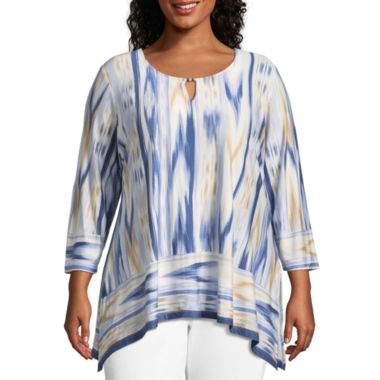 Lark Lane Must Haves Ikat Beaded Sharkbite Hem Top- Plus