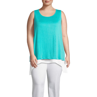 Worthington Knit with Chiffon Trim Tank Top - Plus