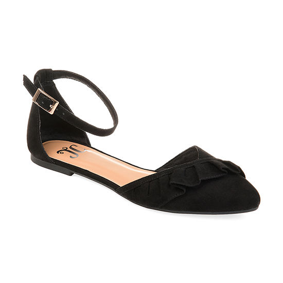 Journee Collection Womens Lazae Buckle Pointed Toe Ballet Flats