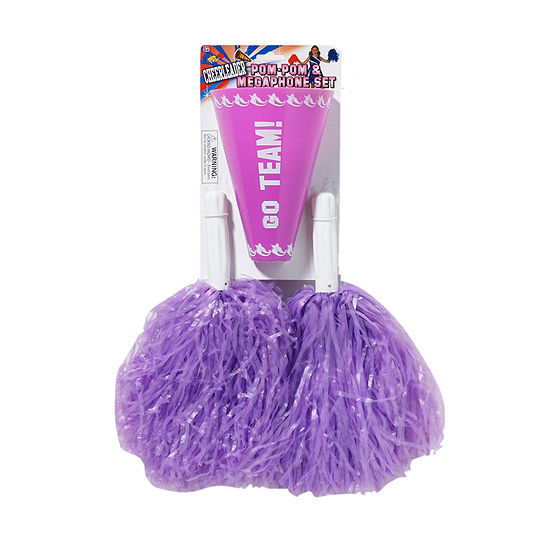 Purple Pom-Pom Megaphone Set One-Size