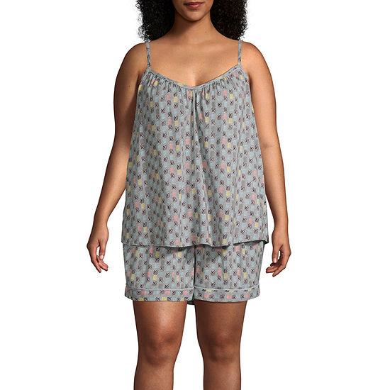 Ambrielle Womens Sleeveless 2-pc. Shorts Pajama Set --Plus