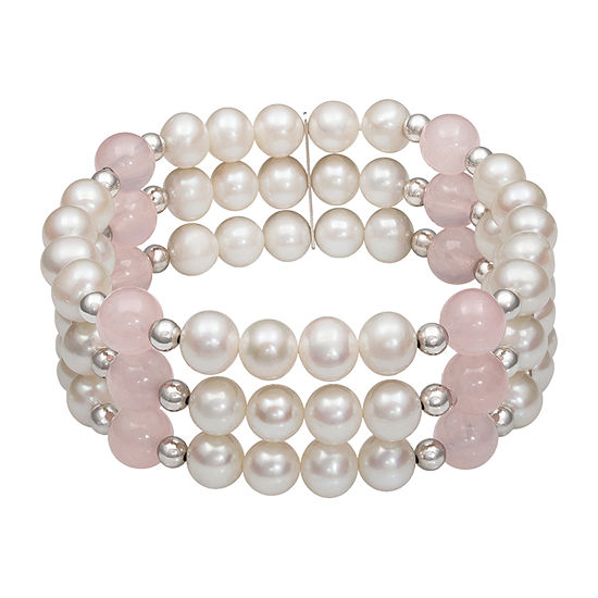 White Cultured Freshwater Pearl Sterling Silver Stretch Bracelet
