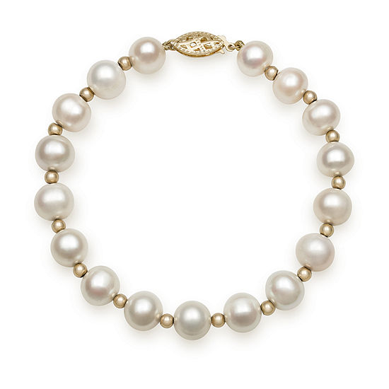 14k Yellow Gold Cultured Fresh Water Pearl Strand Bracelet