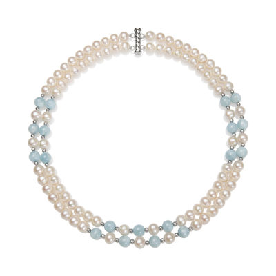 Womens White Cultured Freshwater Pearl Sterling Silver Statement Necklace