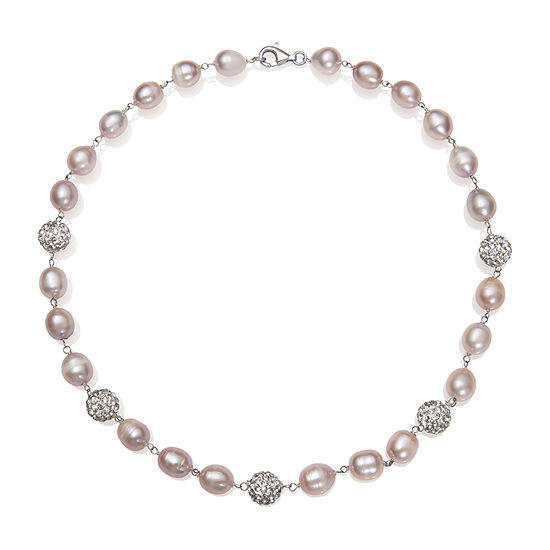 Womens 8.5MM Pink Crystal Cultured Freshwater Pearl Sterling Silver Strand Necklace
