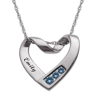 Personalized Womens Multi Color Crystal Sterling Silver Heart Pendant Necklace
