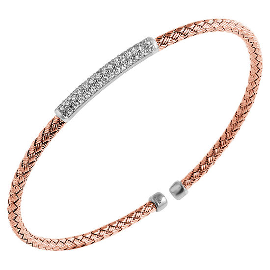 Paris 1901 By Charles Garnier Womens White Cubic Zirconia Cuff Bracelet 18K Rose Gold Over Silver