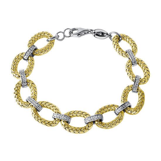 Paris 1901 By Charles Garnier 18K Gold Over Silver 7.5 Inch Solid Link Bracelet