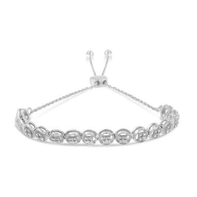 1/10 CT. T.W. Genuine White Diamond Sterling Silver Bolo Bracelet