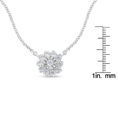 Womens 1/2 CT. T.W. Genuine White Diamond Sterling Silver Flower Pendant Necklace