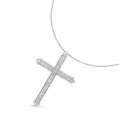 Womens 1/2 CT. T.W. Genuine White Diamond Sterling Silver Cross Pendant Necklace