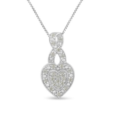 Womens 1/3 CT. T.W. Genuine White Diamond Sterling Silver Heart Pendant Necklace